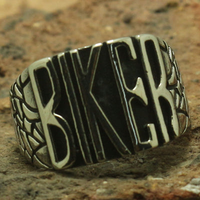 Newest Style 'BIKER' Ring 316L Stainless Steel Cool Silver Biker Rider Ring Band Party Ring Best Gift - Mirage Novelty World