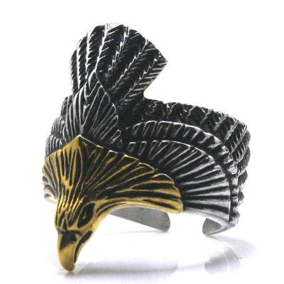 Mens Boys 316L Stainless Steel Golden Eagle Ring Newest - Mirage Novelty World