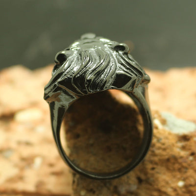 316L Stainless Steel Cool Black Lion King Punk Gothic Ring - Mirage Novelty World