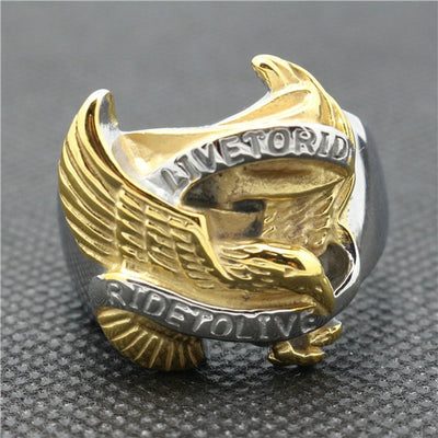 316L Stainless Steel Cool Golden Ride To Live, Live to Ride Silver Biker Eagle Ring - Mirage Novelty World