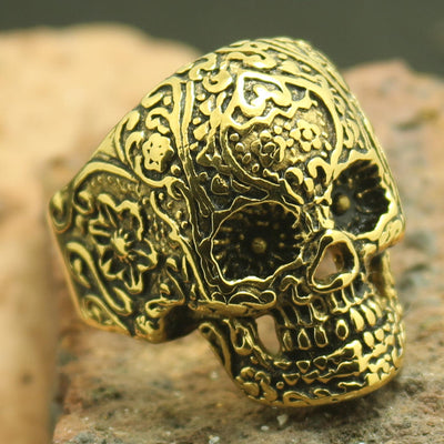 Mens Boys 316L Stainless Steel Cool Biker Flaming Golden Skull Ring - Mirage Novelty World