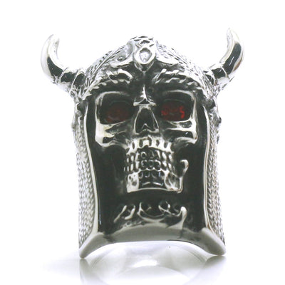 Mens Boys 316L Stainless Steel Big Skull Red Stone Eye Northern Europe Vikings Silver Ring - Mirage Novelty World