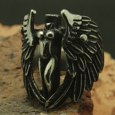 Men Boy Cool 316L Stainless Steel Wing Feather Cross Silver Ring Band or Party Gift Biker Music Festival - Mirage Novelty World