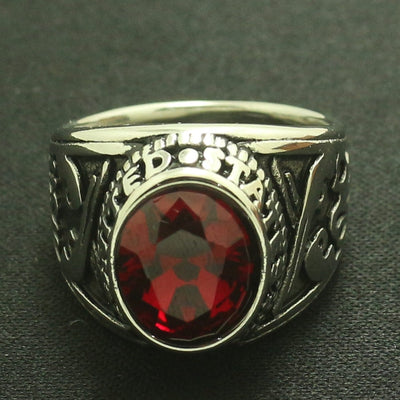 Mens Boys 316L Stainless Steel Cool Red Stone US Navy Two Guns Ring - Mirage Novelty World
