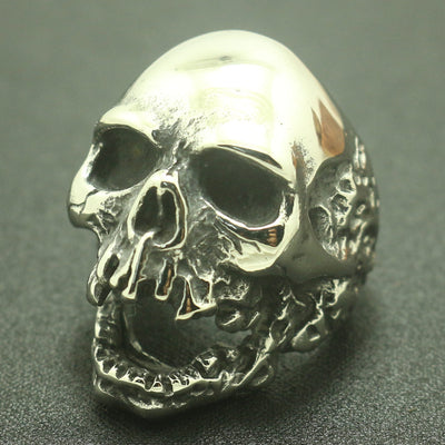 316L Stainless Steel Cool Evil Demon Silver Polishing Big Skull Ring - Mirage Novelty World
