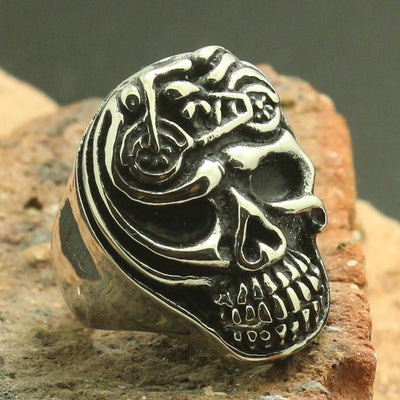 Mens Boys 316L Stainless Steel Motorcycle Skull Newest Ring - Mirage Novelty World