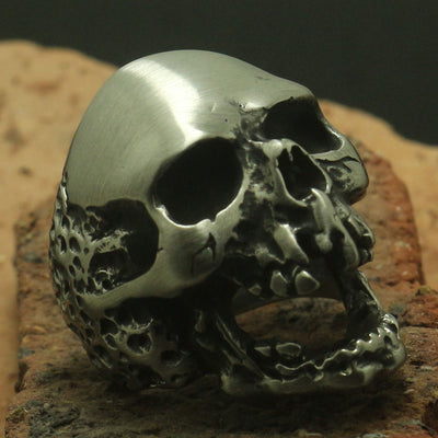 Fashion Heavy Dull Polishing 316L Stainless Steel Punk Death Skull Head Ring Biker Rock Party Best Gift - Mirage Novelty World