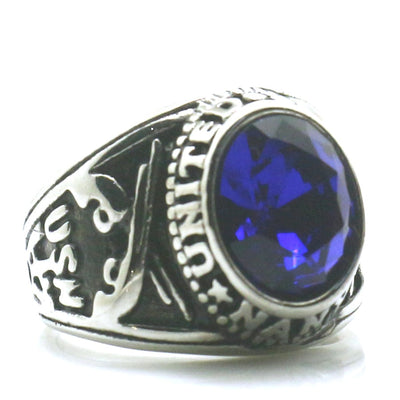 Mens Boys 316L Stainless Steel Cool Blue Stone US Navy Two Guns Ring - Mirage Novelty World