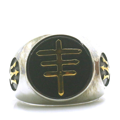 Mens Boys 316L Stainless Steel Cool Newest Big Golden Silver Cross Ring - Mirage Novelty World