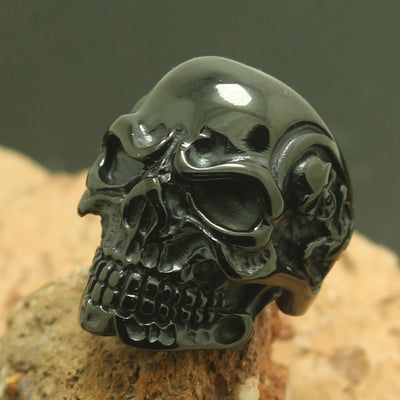 Mens Boys 316L Stainless Steel Black Skull Hot Ring - Mirage Novelty World