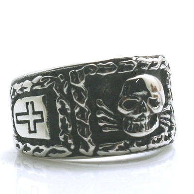 Mens Boys 316L Stainless Steel Cool Silver Cross Skull Biker Ring Newest Gift - Mirage Novelty World