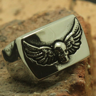 Cool 316L Stainless Steel Polishing Square Skull Wings Feather Party Ring Best Gift - Mirage Novelty World