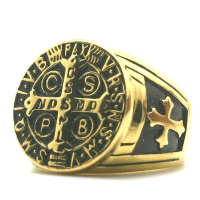 Unisex CSPB CSSML NDSMD Unisex 316L Stainless Steel Saint Benedict of Nursia Cross Golden Black Ring - Mirage Novelty World