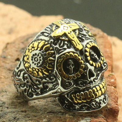 Mens Boys 316L Stainless Steel Cool Golden Cross Skull Ring - Mirage Novelty World
