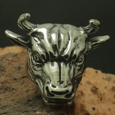 Men Boy Cool 316L Stainless Steel Bull Animal Ring Rock Party Band Biker Good Gift - Mirage Novelty World