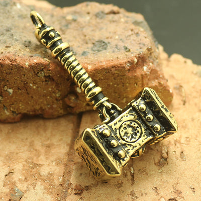 Mens Boys 316L Stainless Steel Cool Golden Thor's Hammer Newest Pendant - Mirage Novelty World