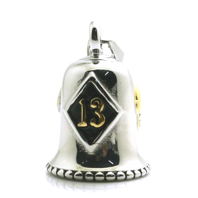 316L Stainless Steel Biker Golden Silver 13 Skull Bell Pendant - Mirage Novelty World