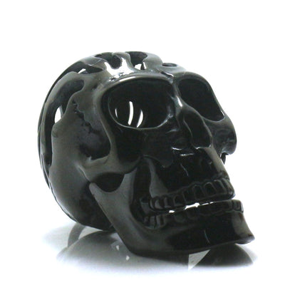 Men 316L Stainless Steel Cool Hollow Out Flaming Black Rider Skull Pendant Chain - Mirage Novelty World
