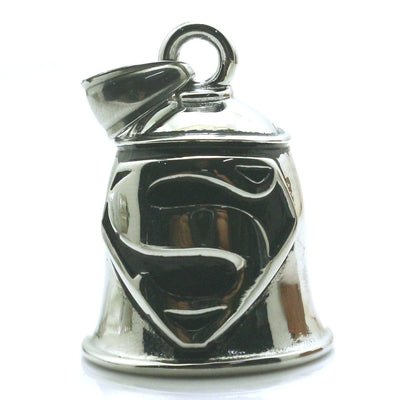Men Boy 316L Stainless Steel Cool Polishing Silver Hero Superman Original Cool Silver Bell Pendant - Mirage Novelty World