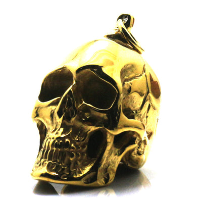 Men 316L Stainless Steel Polishing Cool Punk Gothic Golden Crack Skull Fashion Skeleton Pendant For Biker - Mirage Novelty World