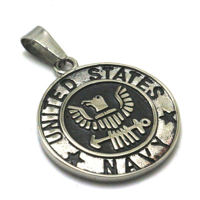 Men 316L Stainless Steel Cool Punk Gothic Silver United States Navy Pendant Newest - Mirage Novelty World