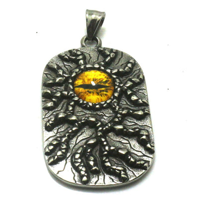 316L Stainless Steel Silver Cool Big Yellow Eye Stone Soldier Pendant With Crackle Great Best Gift For Friend - Mirage Novelty World