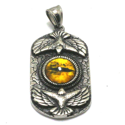 Cool Big Yellow Stone Eagle Pendant 316L Stainless Steel Silver Great Best Gift For Friend - Mirage Novelty World