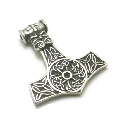 Men Boy 316L Stainless Steel Cool Punk Gothic Thor's Hammer Vikings Skull Big Pendant - Mirage Novelty World