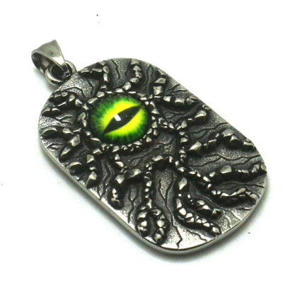 Cool Big Green Eye Stone Soldier Pendant 316L Stainless Steel Silver Great Best Gift For Friend - Mirage Novelty World