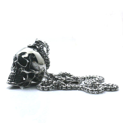 Men 316L Stainless Steel Polishing Cool Silver Punk Gothic Skeleton Pendant Necklace Chain - Mirage Novelty World