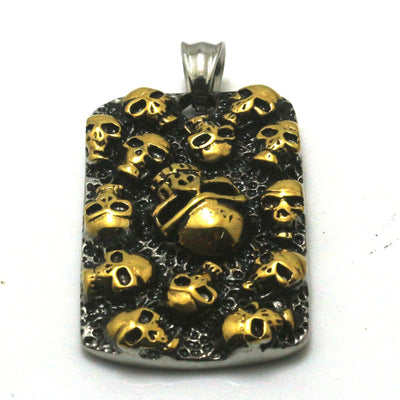 Men 316L Stainless Steel Cool Punk Gothic Golden Skull Pendant - Mirage Novelty World