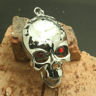 Mens Boy 316L Stainless Steel Big Clean Stone Skull Hot Pendant - Mirage Novelty World