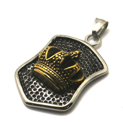 Men 316L Stainless Steel Cool Punk Gothic Golden Crown Pendant - Mirage Novelty World