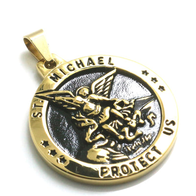 Unisex 316L Stainless Steel Star SAINT MICHAEL PROTECT US Golden Pendant - Mirage Novelty World
