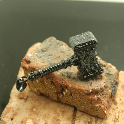 Mens Boys 316L Stainless Steel Cool Black Thor's Hammer Newest Pendant - Mirage Novelty World