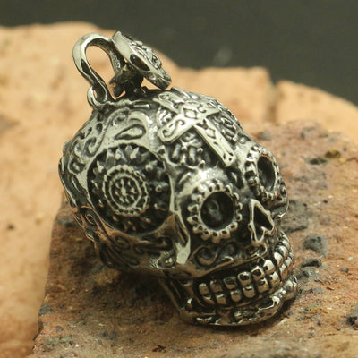 316L Stainless Steel Cool Punk Gothic Silver Cross Flower Skull Cool Pendant - Mirage Novelty World