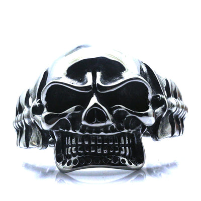 Mens Boys 316L Stainless Steel Cool Rock Punk Gothic Big Evil Demon Skull Biker Silver Bangle Huge & Heavy Gift - Mirage Novelty World