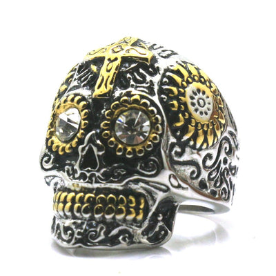 High Quality Unisex 316L Stainless Steel Glden & Silver Carved Flower Cross Skull Clean Stone Eye Ring - Mirage Novelty World