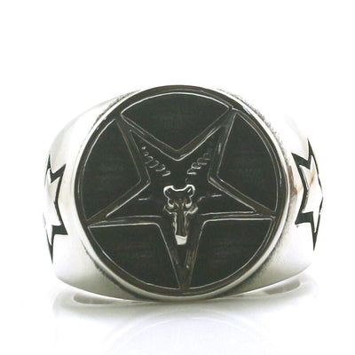 Mens Boys 316L Stainless Steel Cool Star Sheep's Head Newest Ring - Mirage Novelty World