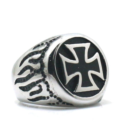 316L Stainless Steel Cool Punk Gothic Flaming Biker Cross Ring - Mirage Novelty World