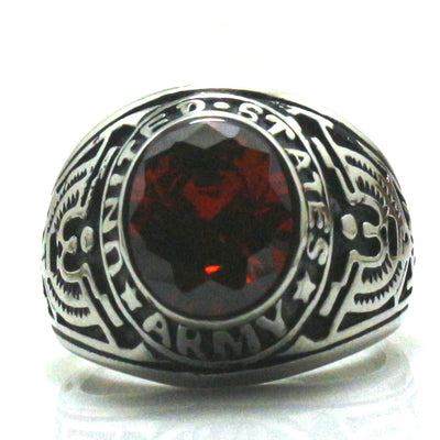 Men Boy 316L Stainless Steel Cool United States Army Red Stone Classic Ring - Mirage Novelty World