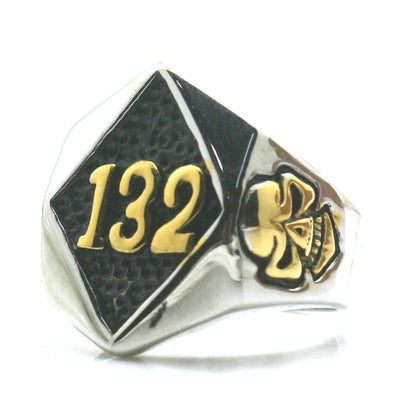 Mens Boys 316L Stainless Steel Cool Silver Golden 132 Biker Style Newest Ring For Gift - Mirage Novelty World