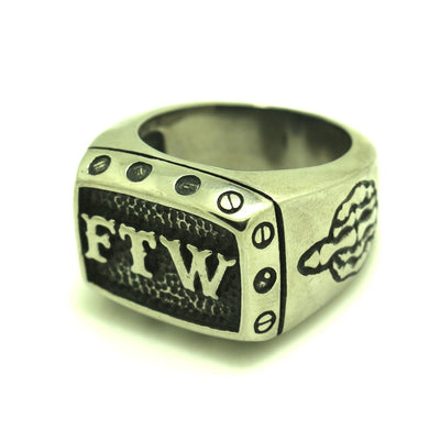 Mens 316L Stainless Steel FTW Cool Biker Ring - Mirage Novelty World