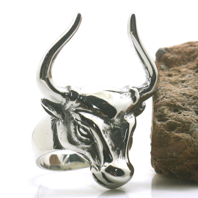 Mens Boys 316L Stainless Steel Cool Silver Ox Head Newest Ring - Mirage Novelty World