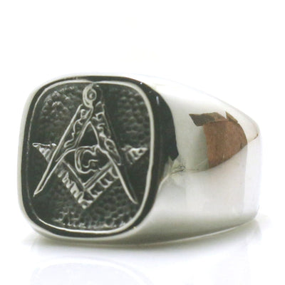 Mens Boys 316L Stainless Steel Cool Silver Punk Gothic Classic Simple Fashion Freemasons Silver Ring - Mirage Novelty World