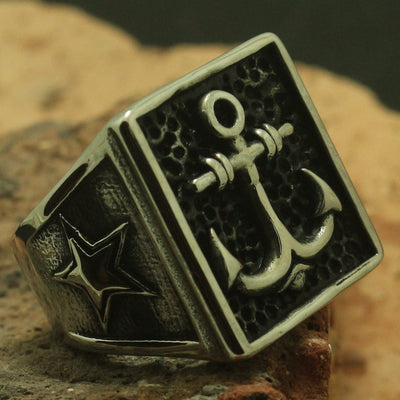 Cool 316L Stainless Steel Square Anchor Star Beautiful Party Ring Best Gift - Mirage Novelty World