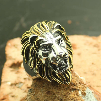 Mens 316L Stainless Steel Cool Golden & Silver Lion King Ring - Mirage Novelty World