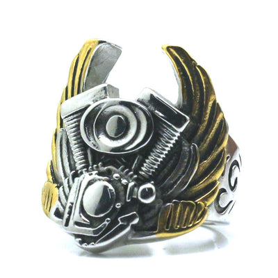 Men Boy 316L Stainless Steel Cool Biker Golden & Silver Wing Engine Ring For Rider Newest - Mirage Novelty World