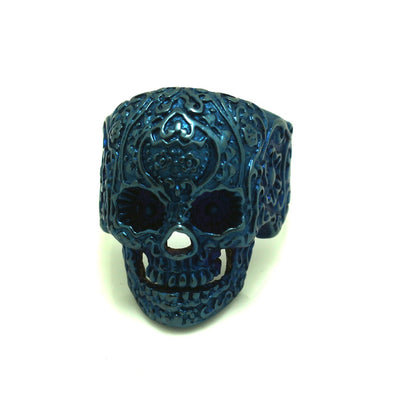 316L Stainless Steel Cool Flaming Biker Skull Ring - Mirage Novelty World