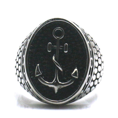 316L Stainless Steel Cool Silver Anchor Ring - Mirage Novelty World